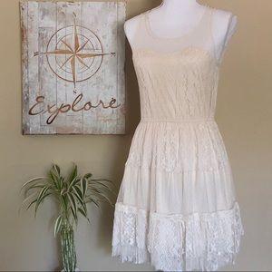 Pinky Cream Lace & Crochet Dress